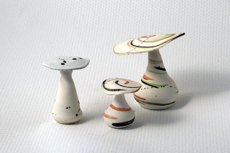 Lot de 3 Champignons en céramique