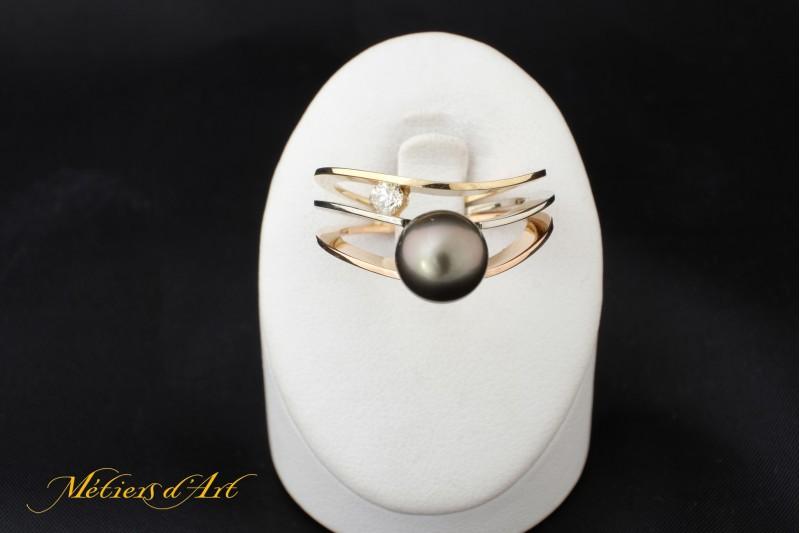 Bague Or, Diamant, Perle